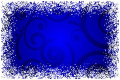 Blue background with snowflakes frame Royalty Free Stock Images