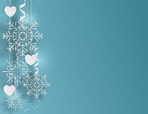 Blue background with snowflakes and hearts, vector illustration Stock Photos