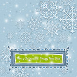 Blue background of snowflakes with label, vector Royalty Free Stock Image