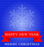 Blue background with snowflakes, red ribbon. White text. Stock Images