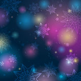 Blue background with snowflakes and stars, vector stock photo