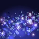 Blue Background With Snowflakes. Stock Photo
