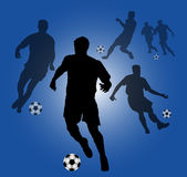 Blue Background with Soccer players silhouettes Stock Images