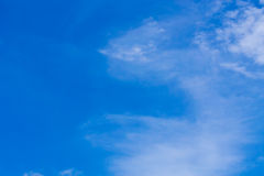 The blue backdrop has some clouds. Royalty Free Stock Photos