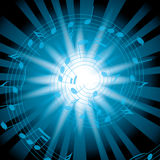 Blue vector background with spiral music notes and rays Stock Image