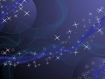 Blue background with stars. And circles royalty free illustration