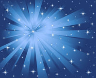 Blue background stars and rays stock illustration
