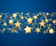 Blue background with stars and snowflakes. Blue winter background with golden stars and snowflakes. Vector holiday illustration Stock Photography