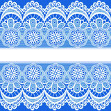 Blue background with stripes of lace and place for text Stock Photography