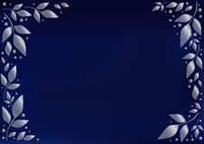 Blue background stylized as blue velvet decorated with silver leaves and dots royalty free illustration