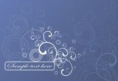 Blue background with swirls. A blue background image with a swirl and flourish pattern Royalty Free Stock Images