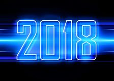 2018 blue background. Technology background with transparent figures 2018 for New Year vector illustration