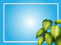 Blue background template with green leaves. Illustration Royalty Free Stock Photo
