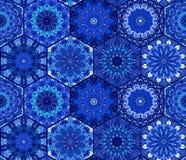 Blue Background Tiles Mandala Pattern Stock Image