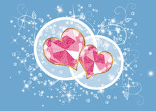 Blue background with two hearts Royalty Free Stock Image
