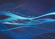 Blue background,vector. Blue background with many wave,vector illustration Royalty Free Stock Photo