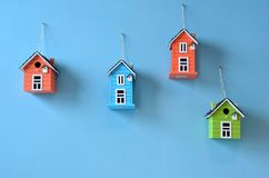 Birds houses on the wall Royalty Free Stock Photo
