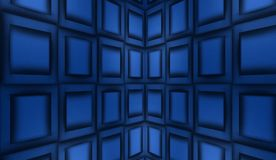 Abstract blue background, metal panels. Blue background of a wall made of metal plates, panels, distortion of space vector illustration