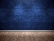 Blue background Wall. Blue wall with wooden floor Ideal for product background Stock Photos