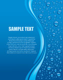 Blue background with water drops and place for text Stock Photos