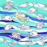 Blue Background with waves and  fishes Royalty Free Stock Photos