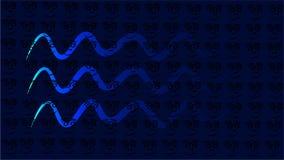 Blue background with waves or line like snake - vector illustration royalty free illustration