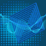 Blue background with waves, squares and halftone. Blue abstract background with waves, squares and halftone. Vector illustration stock illustration
