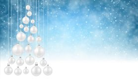 Blue background with white Christmas balls. Blue New Year background with white Christmas tree. Vector illustration Stock Image