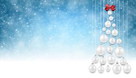 Blue background with white Christmas tree. Blue New Year background with white Christmas balls. Vector illustration.r Stock Photos