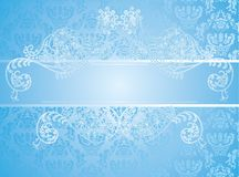 Blue Background With Floral Elements Stock Image