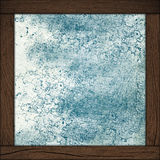 Blue background with wood frame Stock Photos