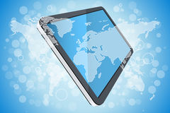 Blue Background with World Map and Tablet Computer Stock Photo