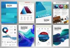 Blue backgrounds and abstract concept infographics and icons Stock Image