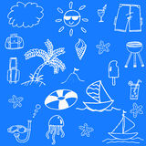 Blue backgrounds beach doodle Stock Photography