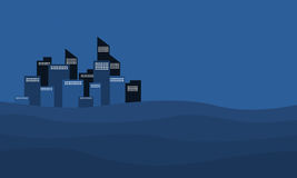 Blue backgrounds city on desert of silhouette Royalty Free Stock Photos