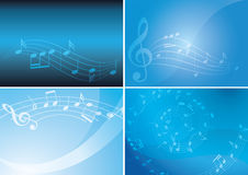 Blue vector backgrounds with musical notes and gradient - set Stock Photography