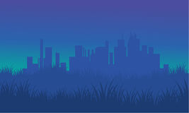 On blue backgrounds silhouette urban for fields Royalty Free Stock Photos
