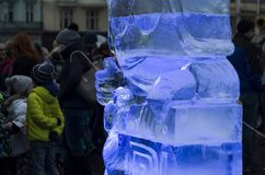 Blue backlit ice sculpture Stock Photo