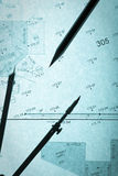 Blue backlit surveyor's plan, circle and pencil Stock Photo