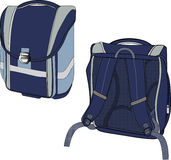 Blue backpack. The illustration shows a model school backpack dark blue in different positions Royalty Free Stock Image