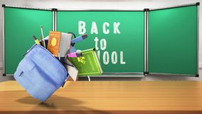 Blue backpack with school supplies 3d render back to school back. Ground Royalty Free Stock Image