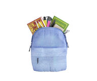 Blue backpack with school supplies 3d render on white no shadow Stock Images