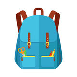 Blue Backpack Schoolbag Icon in Flat Style Stock Photography