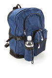 Blue backpack and water Royalty Free Stock Photography