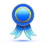 Blue badge. Vector illustration of blue badge and ribbon Stock Photo