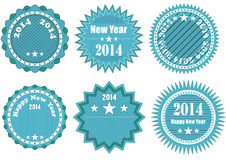 2014 blue badge. Illustration of blue badge with 2014 year text Stock Images
