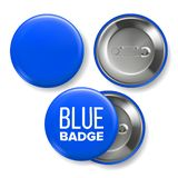 Blue Badge Mockup Vector. Pin Brooch Blue Button Blank. Two Sides. Front, Back View. Branding Design 3D Realistic vector illustration