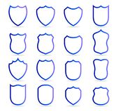 Blue badge patches vector outline templates. Sport club, military or heraldic shield and coat of arms blank icons vector royalty free illustration