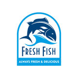 Blue badge of salmon in wave with text Fresh Fish. Retro badge of blue silhouette of salmon swimming in sea waves with caption Fresh Fish. Great for food Stock Images