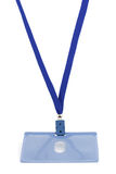 Blue badge on a string Stock Image